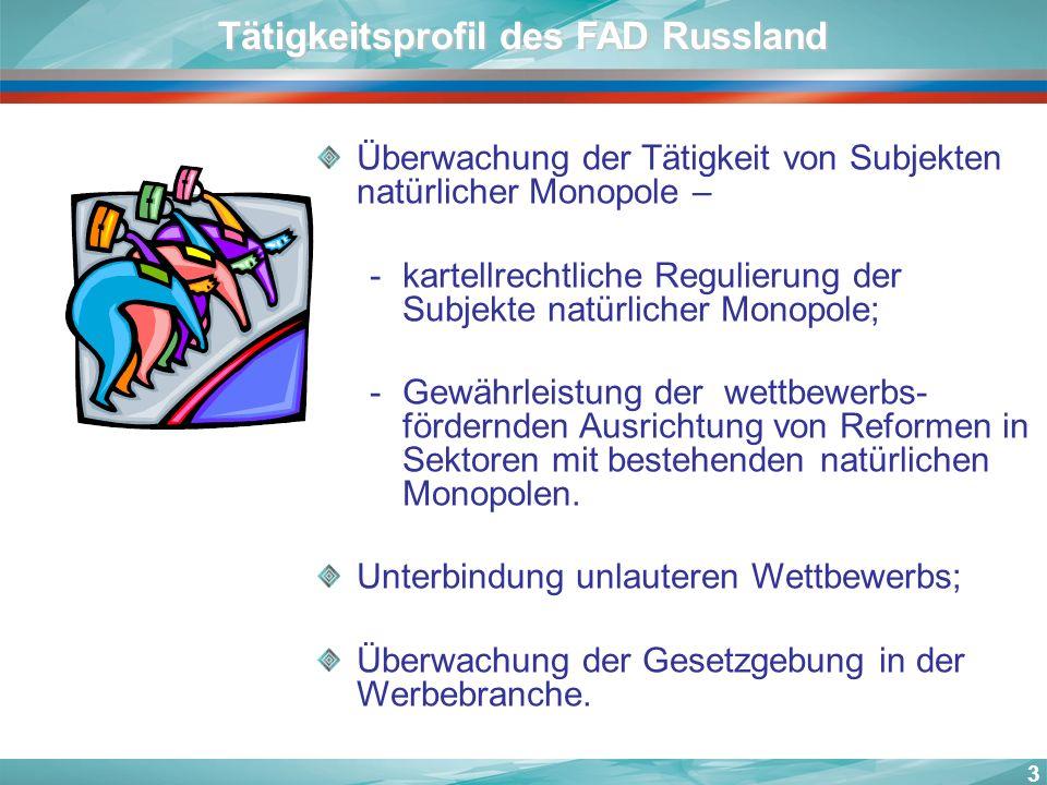 3 Überwachung der Tätigkeit von Subjekten natürlicher Monopole – -kartellrechtliche Regulierung der Subjekte natürlicher Monopole; -Gewährleistung der