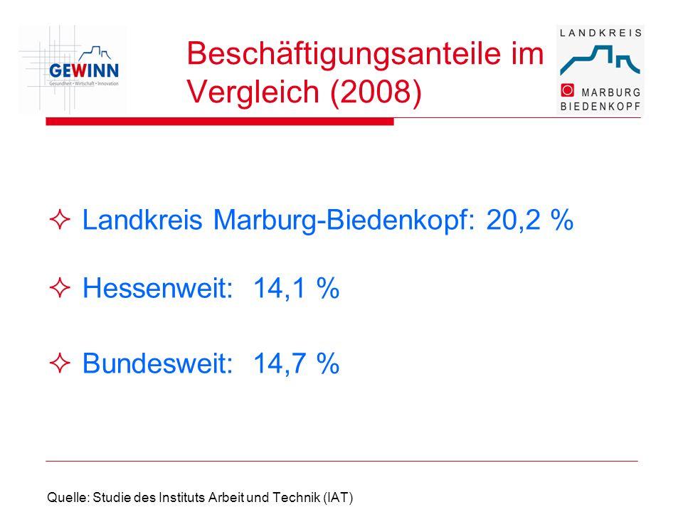 Beschäftigungsanteile im Vergleich (2008) Landkreis Marburg-Biedenkopf: 20,2 % Hessenweit:14,1 % Bundesweit:14,7 % Quelle: Studie des Instituts Arbeit