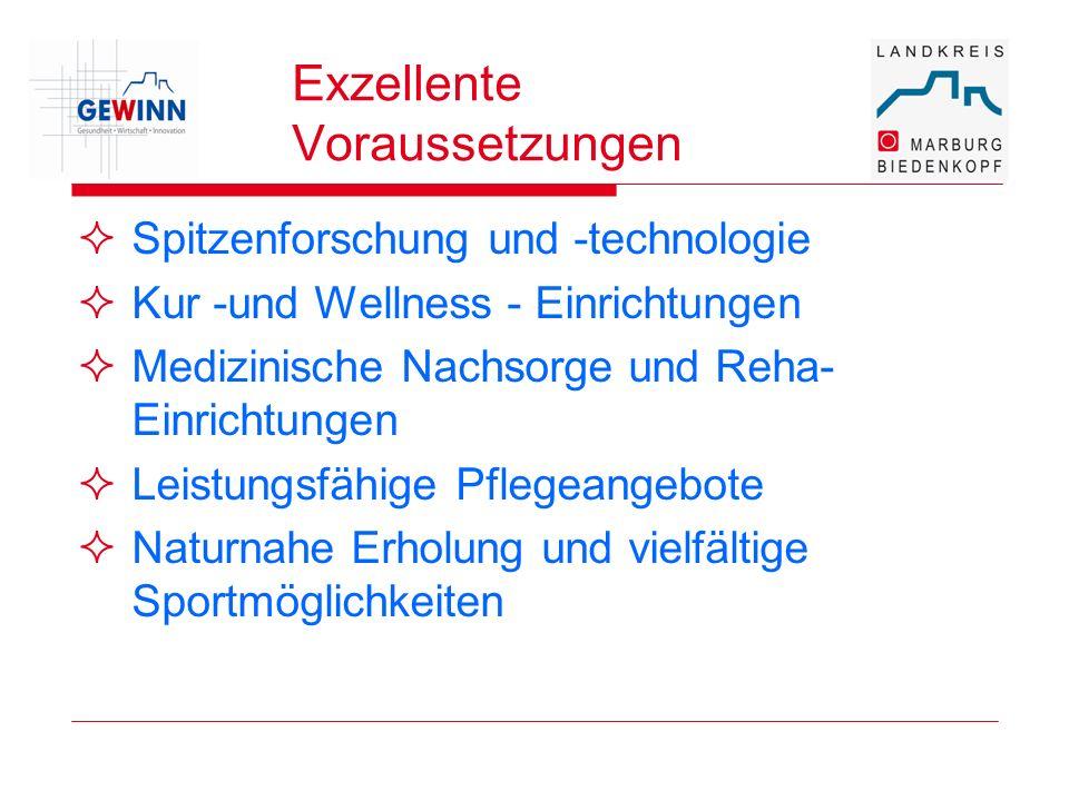 Exzellente Voraussetzungen Spitzenforschung und -technologie Kur -und Wellness - Einrichtungen Medizinische Nachsorge und Reha- Einrichtungen Leistung