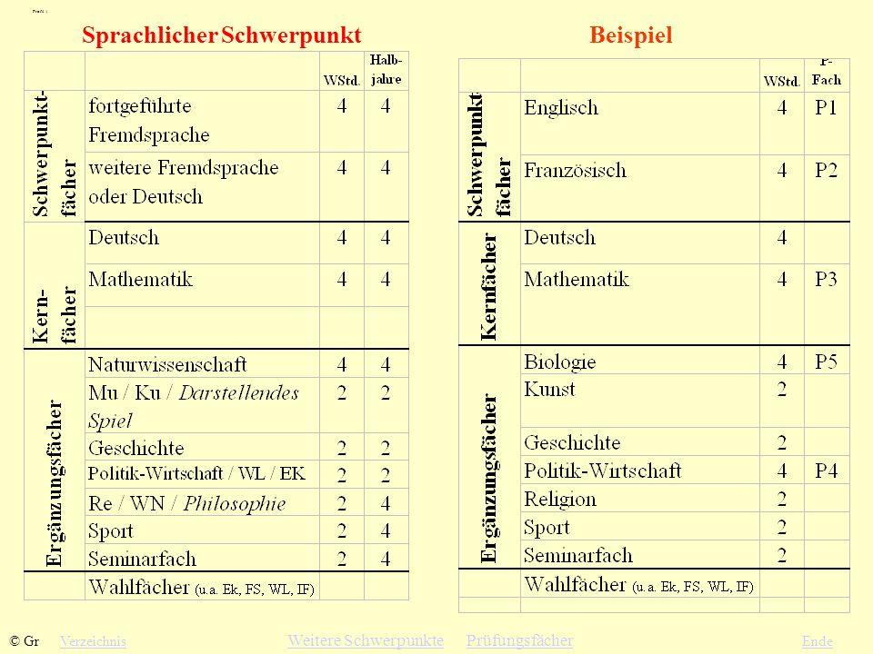Sprachlicher SchwerpunktBeispiel VerzeichnisEnde Profil 1 © Gr Weitere SchwerpunkteWeitere Schwerpunkte PrüfungsfächerPrüfungsfächer