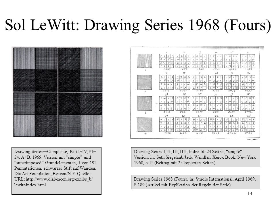 14 Sol LeWitt: Drawing Series 1968 (Fours) Drawing SeriesComposite, Part I–IV, #1– 24, A+B, 1969, Version mit simple und superimposed Grundelementen,