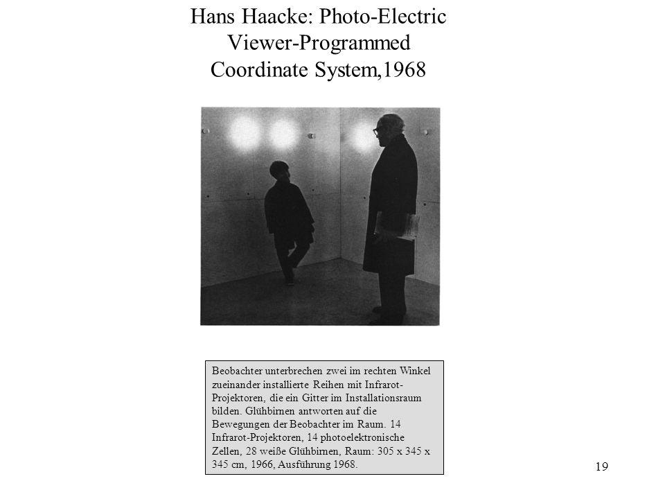 19 Hans Haacke: Photo-Electric Viewer-Programmed Coordinate System,1968 Beobachter unterbrechen zwei im rechten Winkel zueinander installierte Reihen
