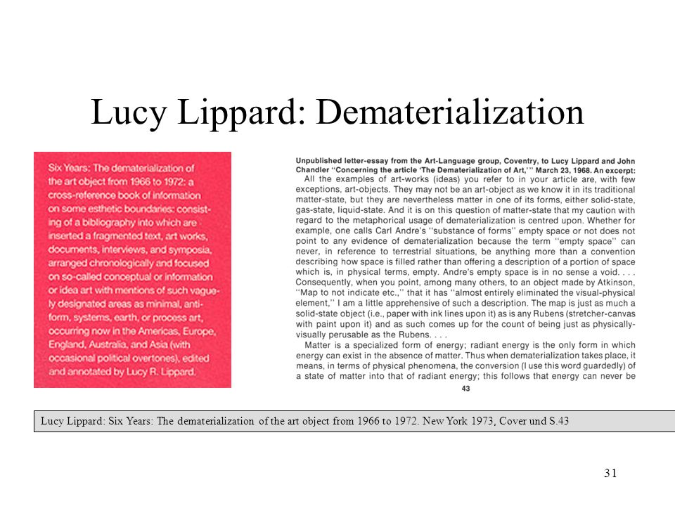 31 Lucy Lippard: Dematerialization Lucy Lippard: Six Years: The dematerialization of the art object from 1966 to 1972. New York 1973, Cover und S.43