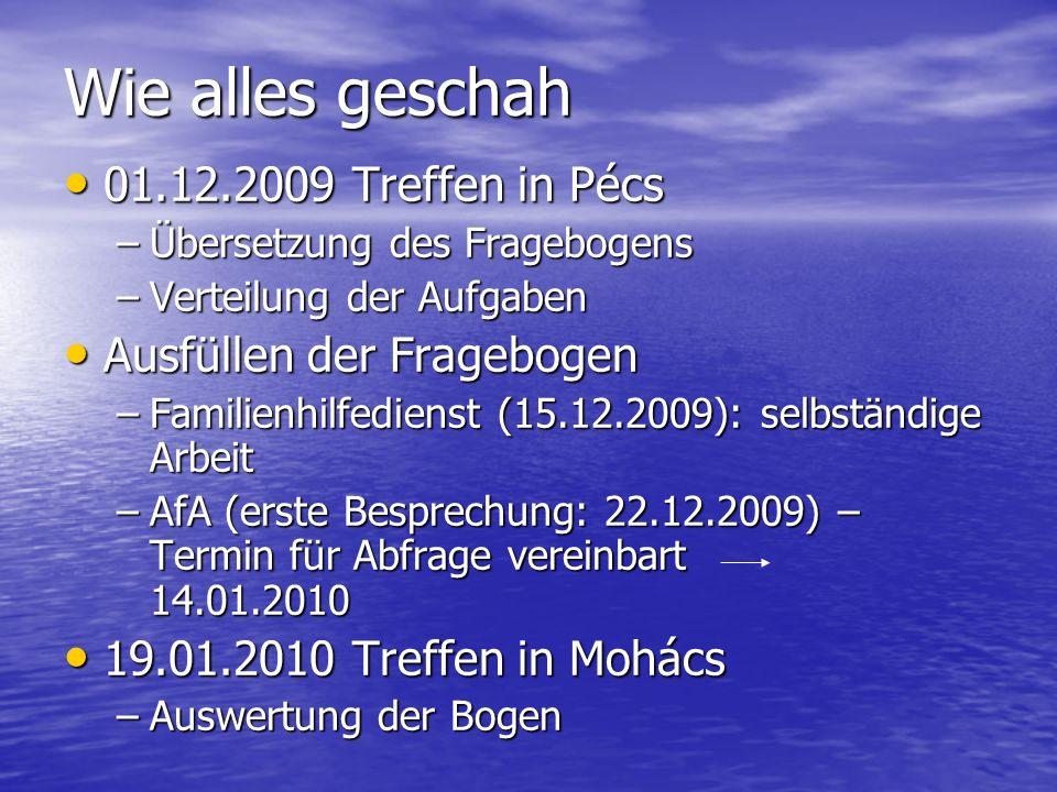Wie alles geschah 01.12.2009 Treffen in Pécs 01.12.2009 Treffen in Pécs –Übersetzung des Fragebogens –Verteilung der Aufgaben Ausfüllen der Fragebogen