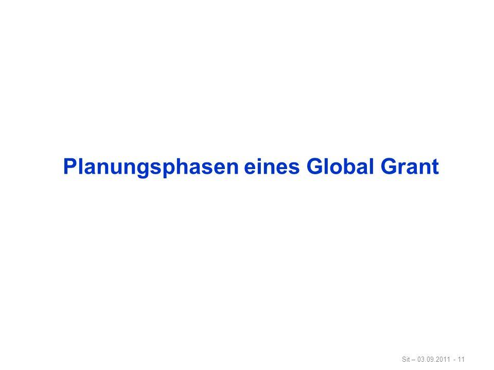 Sit – 03.09.2011 - 11 Planungsphasen eines Global Grant