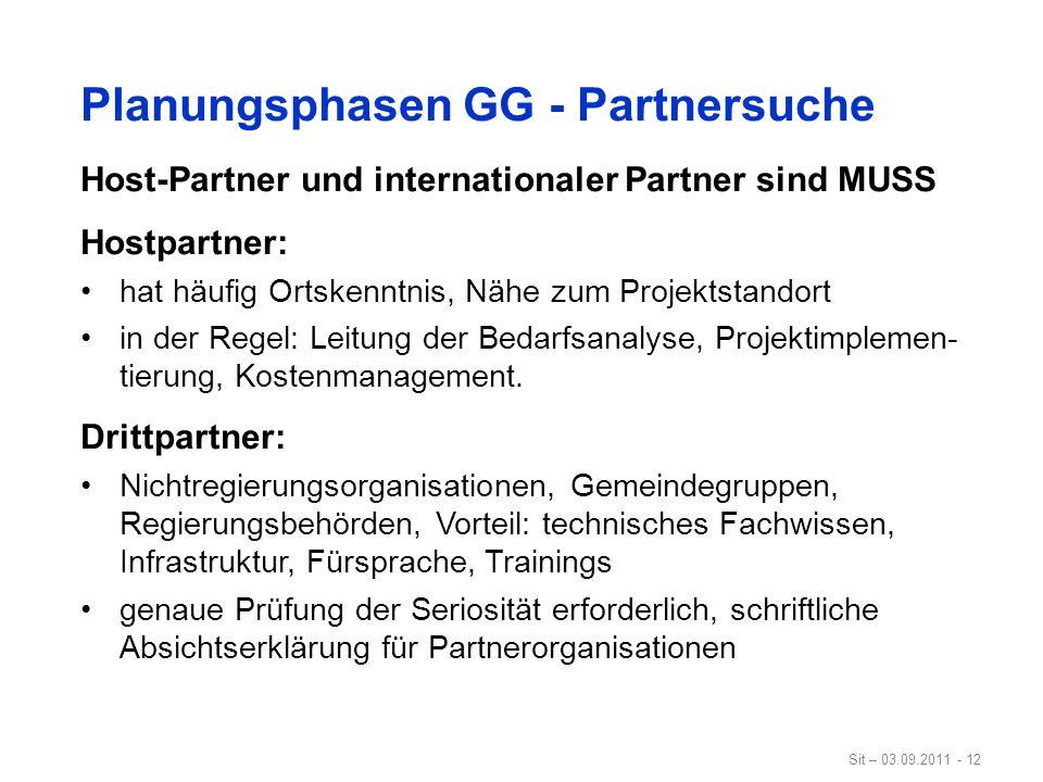 Sit – 03.09.2011 - 12 Planungsphasen GG - Partnersuche Host-Partner und internationaler Partner sind MUSS Hostpartner: hat häufig Ortskenntnis, Nähe z