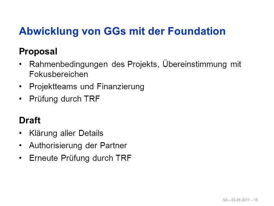 Sit – 03.09.2011 - 15 Abwicklung von GGs mit der Foundation Proposal Rahmenbedingungen des Projekts, Übereinstimmung mit Fokusbereichen Projektteams u
