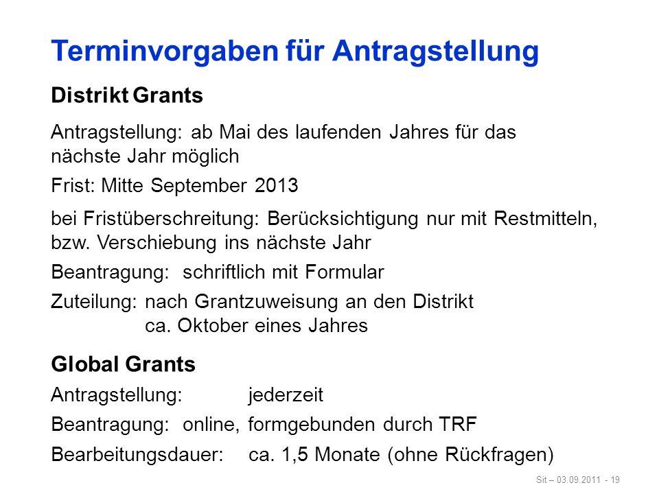 Sit – 03.09.2011 - 19 Terminvorgaben für Antragstellung Distrikt Grants Antragstellung: ab Mai des laufenden Jahres für das nächste Jahr möglich Frist