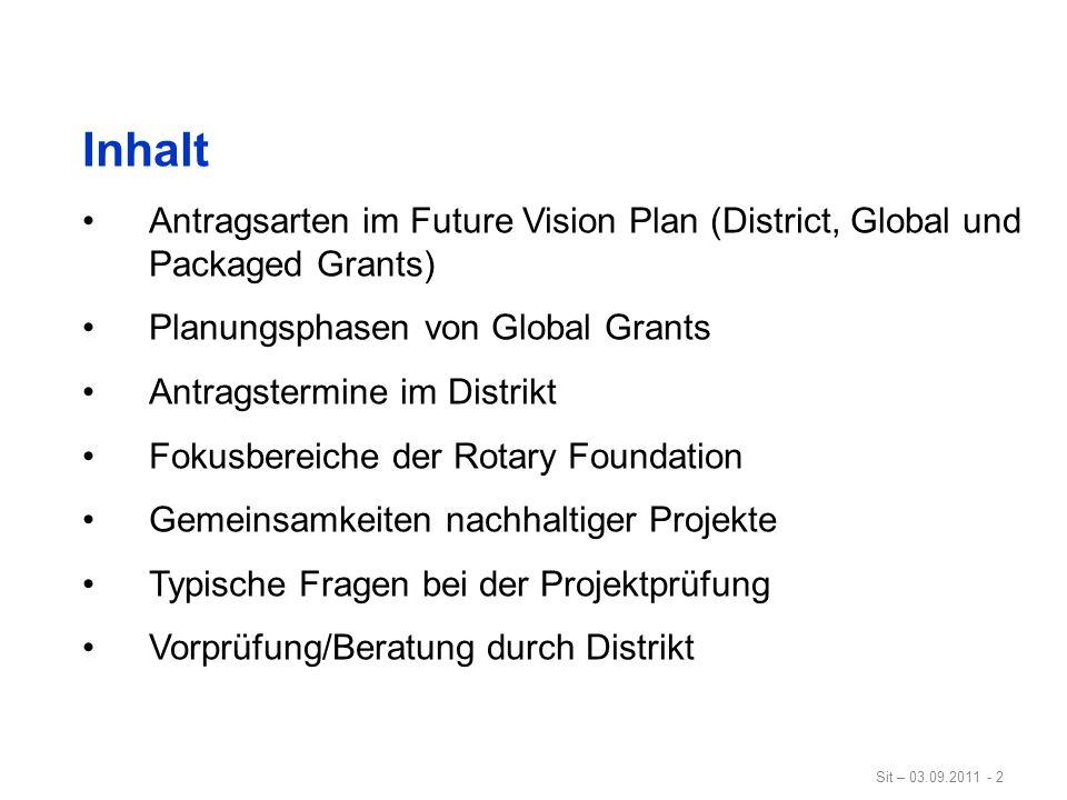 Sit – 03.09.2011 - 33 Typische Fragen zu den Schwerpunkten Global Grants müssen die Ziele von mindestens einem Rotary Schwerpunktbereich fördern.