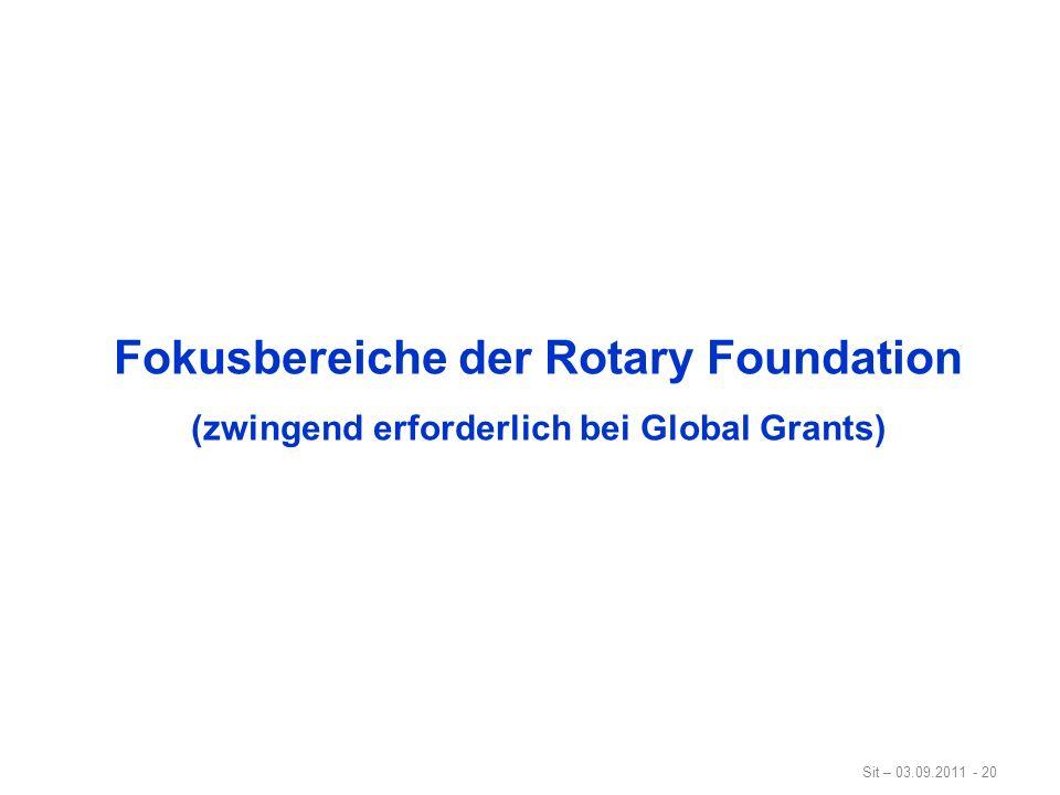 Sit – 03.09.2011 - 20 Fokusbereiche der Rotary Foundation (zwingend erforderlich bei Global Grants)