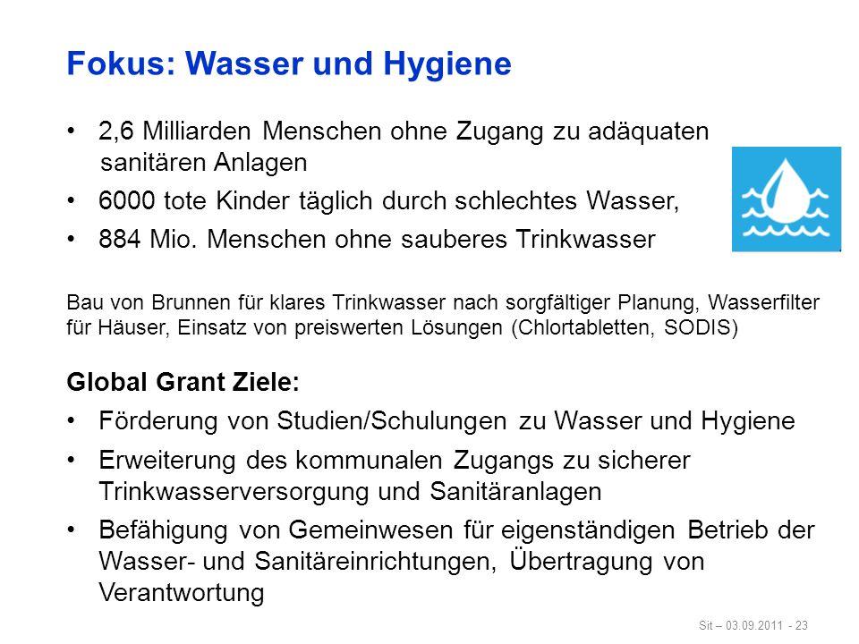 Sit – 03.09.2011 - 23 Fokus: Wasser und Hygiene 2,6 Milliarden Menschen ohne Zugang zu adäquaten sanitären Anlagen 6000 tote Kinder täglich durch schl