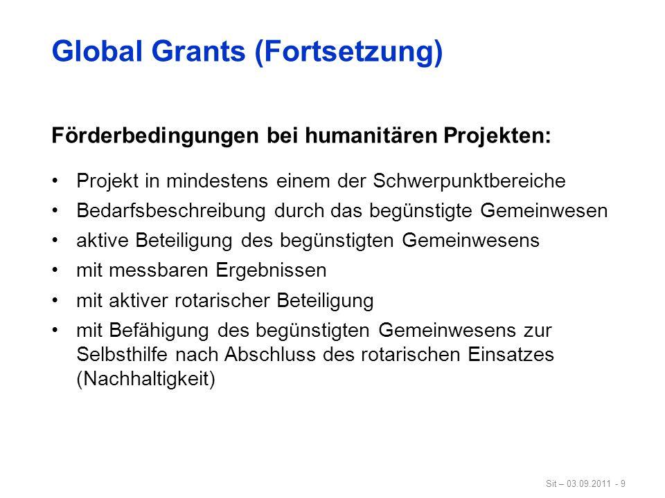 Sit – 03.09.2011 - 9 Global Grants (Fortsetzung) Förderbedingungen bei humanitären Projekten: Projekt in mindestens einem der Schwerpunktbereiche Beda