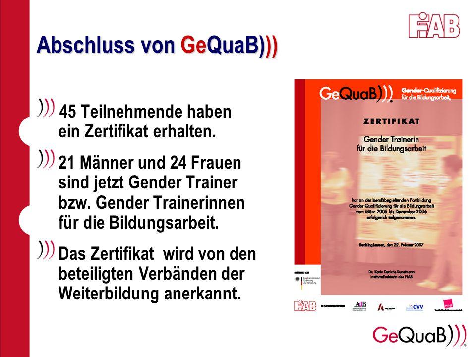 Abschluss von GeQuaB))) 45 Teilnehmende haben ein Zertifikat erhalten. 21 Männer und 24 Frauen sind jetzt Gender Trainer bzw. Gender Trainerinnen für