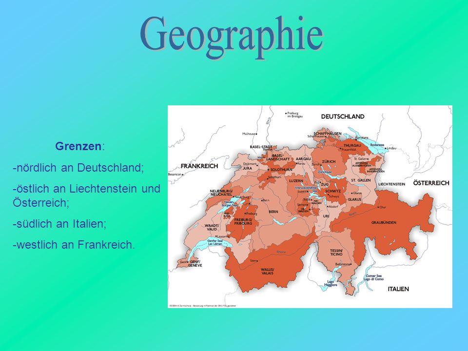 Grenzen: -nördlich an Deutschland; -östlich an Liechtenstein und Österreich; -südlich an Italien; -westlich an Frankreich.