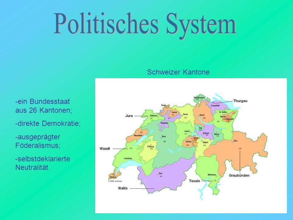 -ein Bundesstaat aus 26 Kantonen; -direkte Demokratie; -ausgeprägter Föderalismus; -selbstdeklarierte Neutralität. Schweizer Kantone