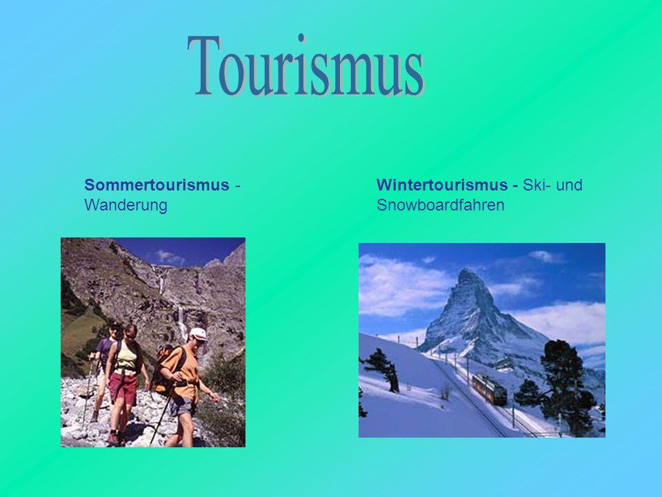 Sommertourismus - Wanderung Wintertourismus - Ski- und Snowboardfahren
