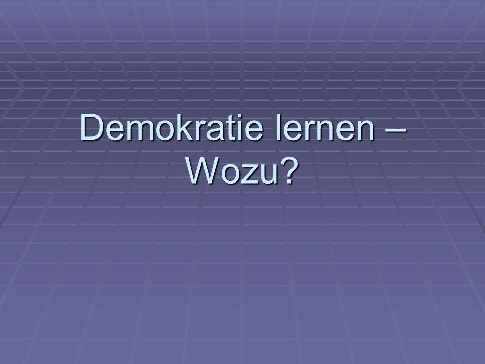 Demokratie lernen – Wozu?