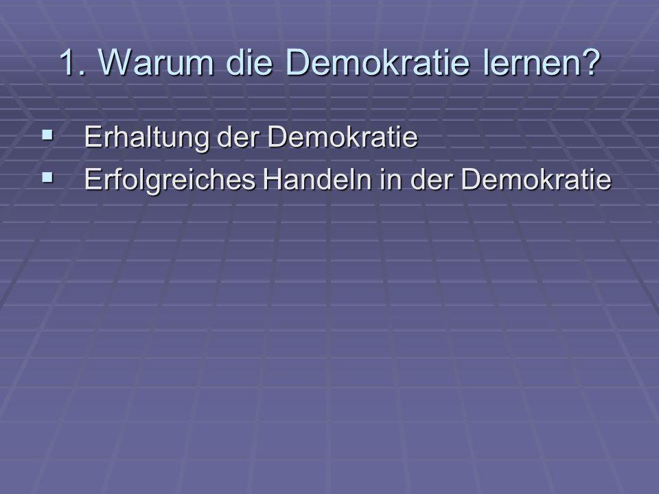 1. Warum die Demokratie lernen? Erhaltung der Demokratie Erhaltung der Demokratie Erfolgreiches Handeln in der Demokratie Erfolgreiches Handeln in der