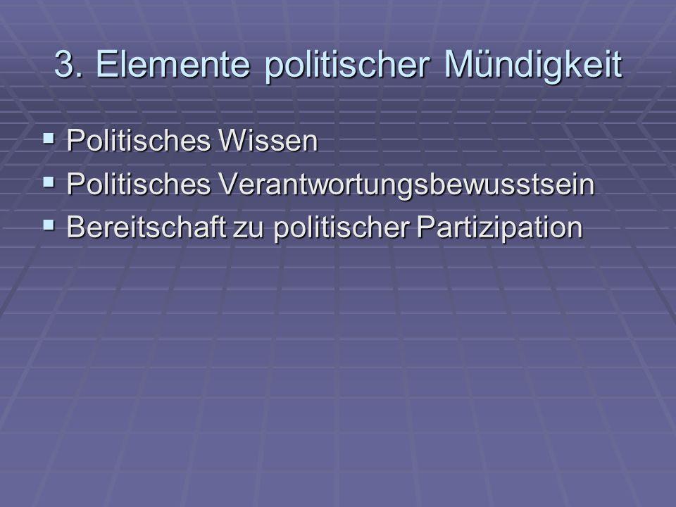 3. Elemente politischer Mündigkeit Politisches Wissen Politisches Wissen Politisches Verantwortungsbewusstsein Politisches Verantwortungsbewusstsein B