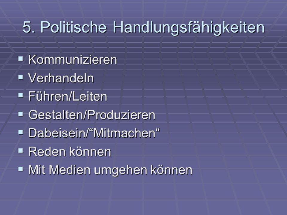 5. Politische Handlungsfähigkeiten Kommunizieren Kommunizieren Verhandeln Verhandeln Führen/Leiten Führen/Leiten Gestalten/Produzieren Gestalten/Produ