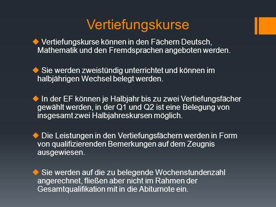 Vertiefungskurse Vertiefungskurse können in den Fächern Deutsch, Mathematik und den Fremdsprachen angeboten werden. Sie werden zweistündig unterrichte