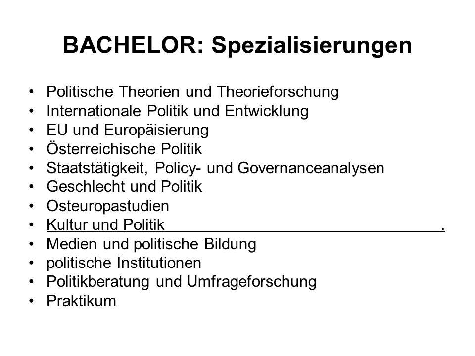 BACHELOR: Spezialisierungen Politische Theorien und Theorieforschung Internationale Politik und Entwicklung EU und Europäisierung Österreichische Poli