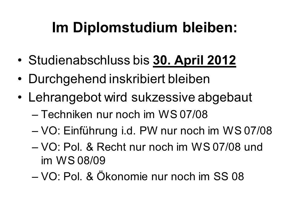 Im Diplomstudium bleiben: Studienabschluss bis 30. April 2012 Durchgehend inskribiert bleiben Lehrangebot wird sukzessive abgebaut –Techniken nur noch