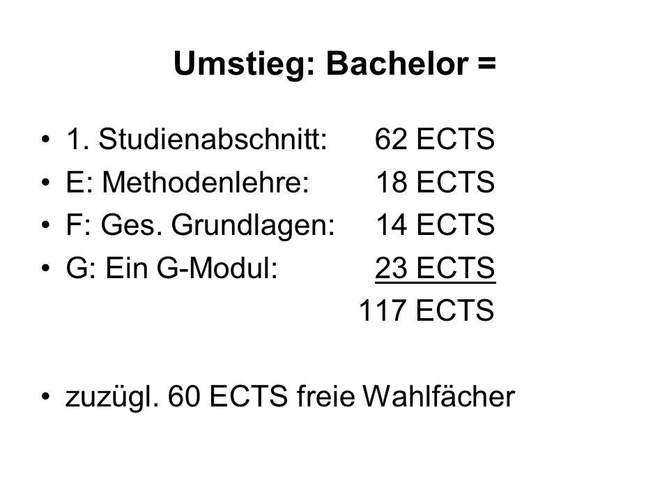 Umstieg: Bachelor = 1. Studienabschnitt:62 ECTS E: Methodenlehre:18 ECTS F: Ges. Grundlagen:14 ECTS G: Ein G-Modul:23 ECTS 117 ECTS zuzügl. 60 ECTS fr