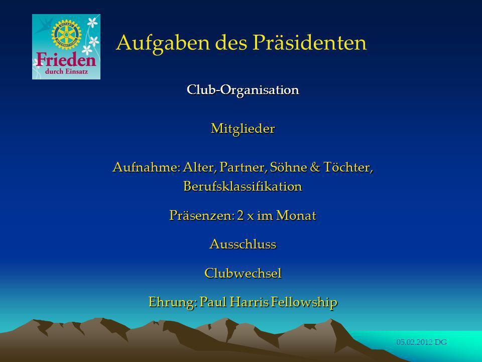Aufgaben des Präsidenten Aufgaben des Präsidenten Club-Organisation Club-Organisation Die Mitglieder des Clubvorstandes ausser Präsident, Präsident Elect, Vizepräsident und Sekretär sollten für einen längeren Zeitraum als ein Jahr (> 3 Jahre) gewählt werden.