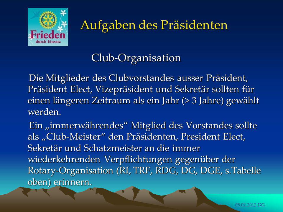 Aufgaben des Präsidenten Club-Organisation Club-Organisation korrekte und aktuelle Eingaben der korrekte und aktuelle Eingaben der Clubamtsträger in RO.CAS durch Clubamtsträger in RO.CAS durch den Sekretär .