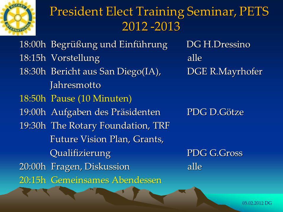 PETS 2012 - 2013 Begrüssung und Einführung (15 Minuten) DG Hildegard Dressino (RC Worms) 05.02.2012 DG