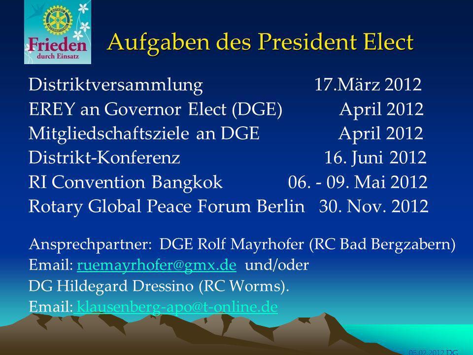 Aufgaben des President Elect Aufgaben des President Elect Distriktversammlung 17.März 2012 EREY an Governor Elect (DGE) April 2012 Mitgliedschaftsziel