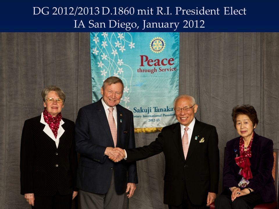 Bericht von der International Assembly, San Diego Sakuji Tanaka, RI PresElect: 2012/2013 Motto: Peace Through Service = Frieden durch Einsatz (Rotary Global Peace Forum Berlin, 30.