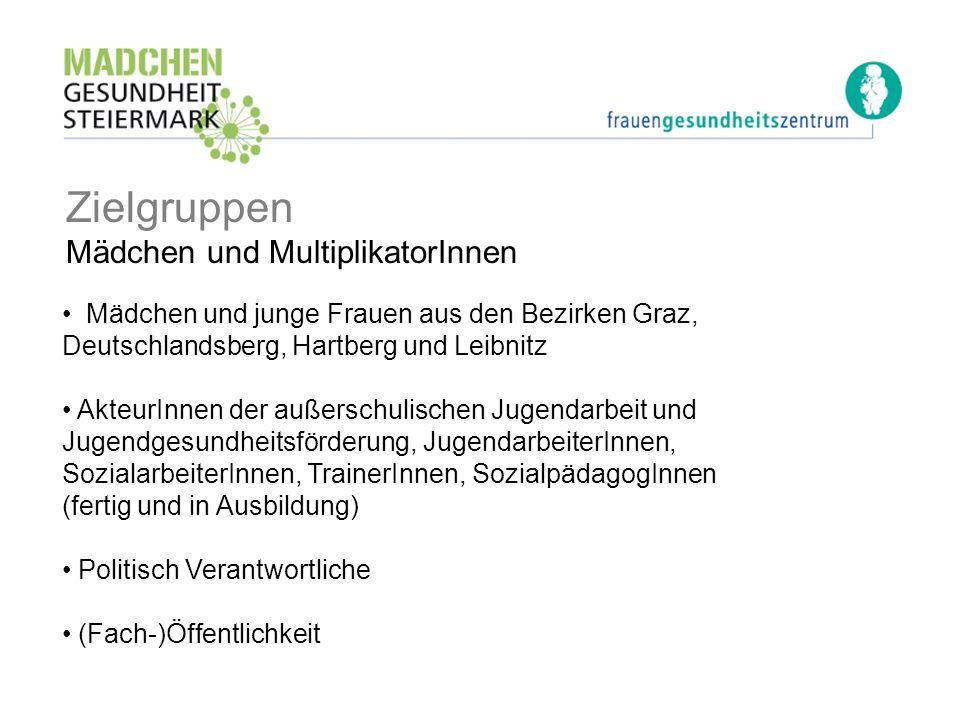 Zielgruppen Mädchen und MultiplikatorInnen Mädchen und junge Frauen aus den Bezirken Graz, Deutschlandsberg, Hartberg und Leibnitz AkteurInnen der auß