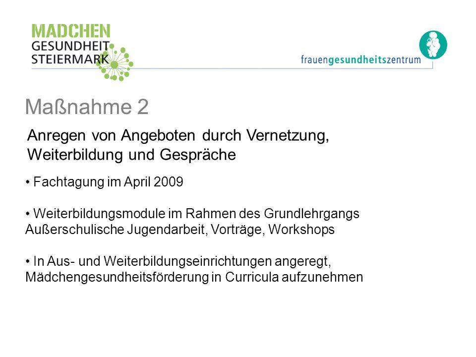 Maßnahme 2 Fachtagung im April 2009 Weiterbildungsmodule im Rahmen des Grundlehrgangs Außerschulische Jugendarbeit, Vorträge, Workshops In Aus- und We