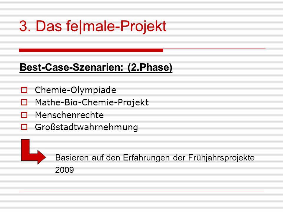 3. Das fe male-Projekt Best-Case-Szenarien: (2.Phase) Chemie-Olympiade Mathe-Bio-Chemie-Projekt Menschenrechte Großstadtwahrnehmung Basieren auf den E