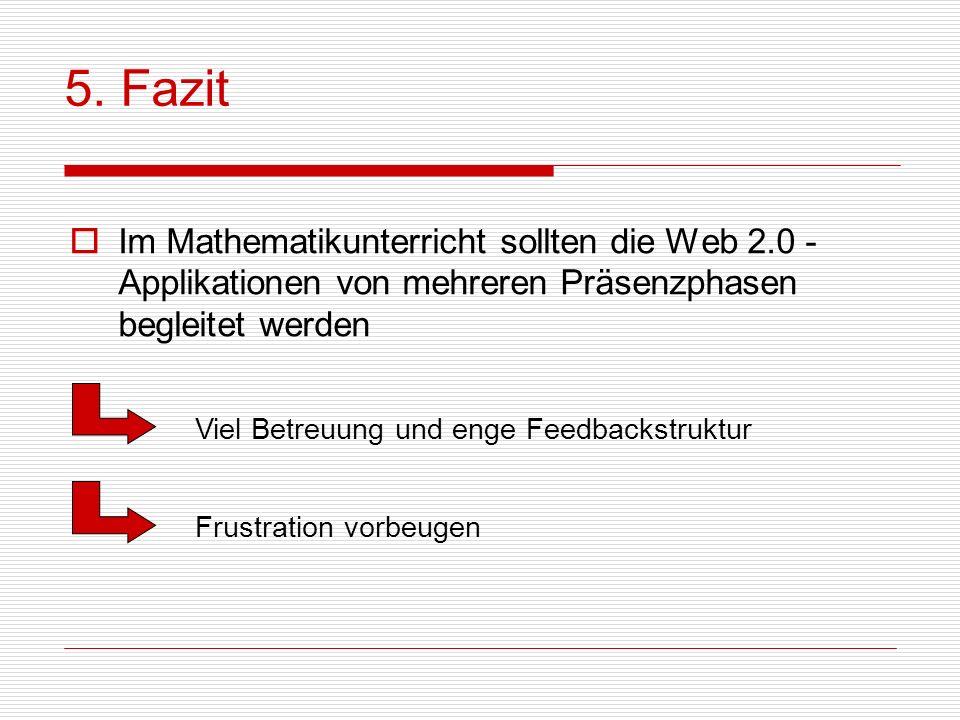 Im Mathematikunterricht sollten die Web 2.0 - Applikationen von mehreren Präsenzphasen begleitet werden 5. Fazit Viel Betreuung und enge Feedbackstruk