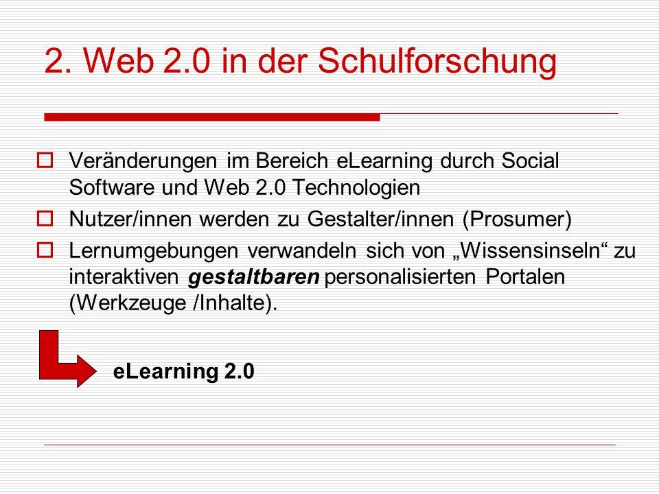 2. Web 2.0 in der Schulforschung Veränderungen im Bereich eLearning durch Social Software und Web 2.0 Technologien Nutzer/innen werden zu Gestalter/in