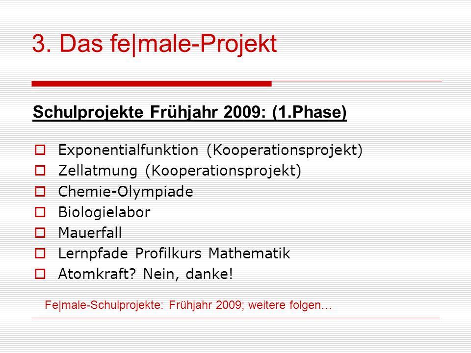 Fe male-Schulprojekte: Frühjahr 2009; weitere folgen… 3. Das fe male-Projekt Schulprojekte Frühjahr 2009: (1.Phase) Exponentialfunktion (Kooperationsp
