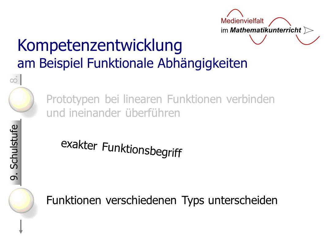 8. Kompetenzentwicklung am Beispiel Funktionale Abhängigkeiten Prototypen bei linearen Funktionen verbinden und ineinander überführen Funktionen versc