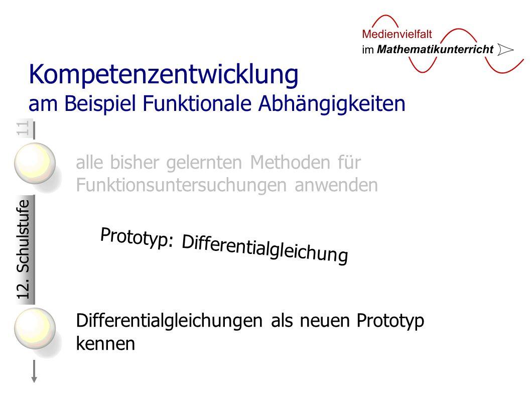 11 Kompetenzentwicklung am Beispiel Funktionale Abhängigkeiten alle bisher gelernten Methoden für Funktionsuntersuchungen anwenden Differentialgleichungen als neuen Prototyp kennen 12.