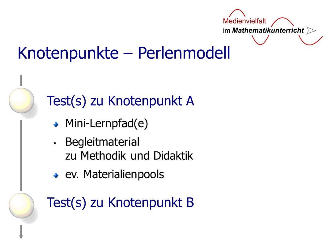 Test(s) zu Knotenpunkt A Test(s) zu Knotenpunkt B Knotenpunkte – Perlenmodell Mini-Lernpfad(e) Begleitmaterial zu Methodik und Didaktik ev.