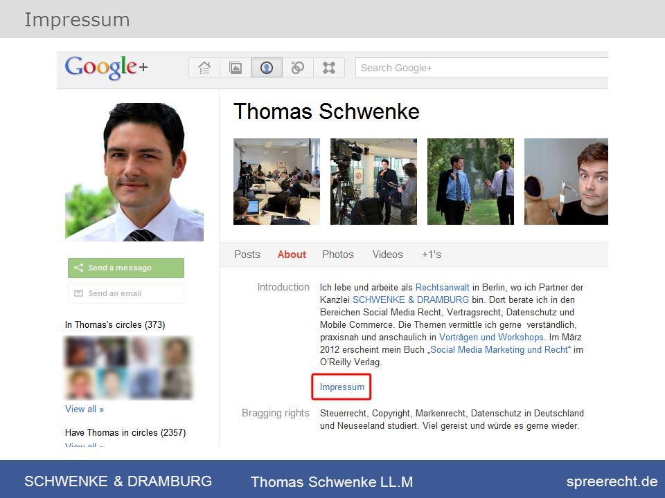 SCHWENKE & DRAMBURG spreerecht.de Thomas Schwenke LL.M Impressum