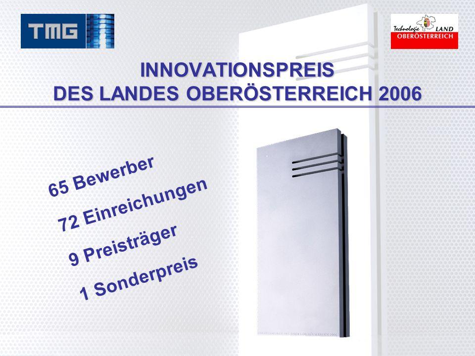 INNOVATIONSPREIS DES LANDES OBERÖSTERREICH 2006 65 Bewerber 72 Einreichungen 9 Preisträger 1 Sonderpreis