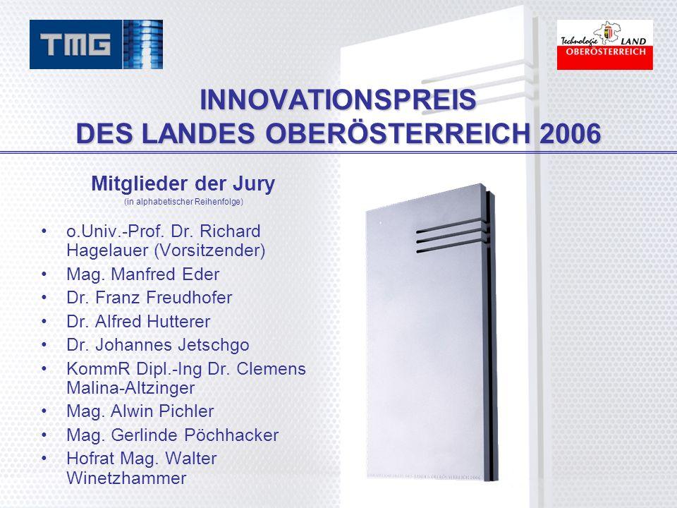 INNOVATIONSPREIS DES LANDES OBERÖSTERREICH 2006 Mitglieder der Jury (in alphabetischer Reihenfolge) o.Univ.-Prof.
