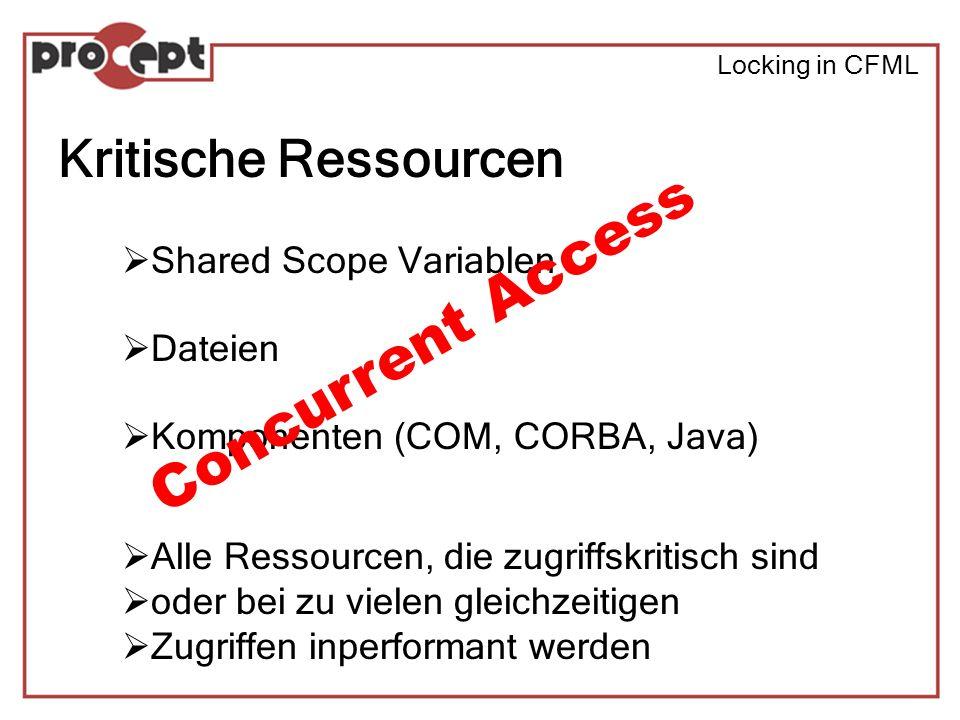 Locking in CFML Links Best practices: http://www.macromedia.com/v1/Handlers/index.cfm?ID=20370&Method=Full A comprehensive guide: http://www.depressedpress.com/DepressedPress/Content/ColdFusion/Guides /Locking/Index.cfm BF on CF: Lock it or loose it.