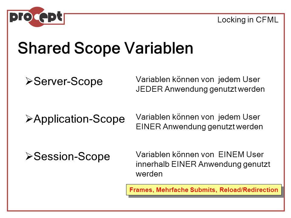 Locking in CFML Shared Scope Variablen Server-Scope Application-Scope Session-Scope Variablen können von jedem User JEDER Anwendung genutzt werden Variablen können von jedem User EINER Anwendung genutzt werden Variablen können von EINEM User innerhalb EINER Anwendung genutzt werden Frames, Mehrfache Submits, Reload/Redirection
