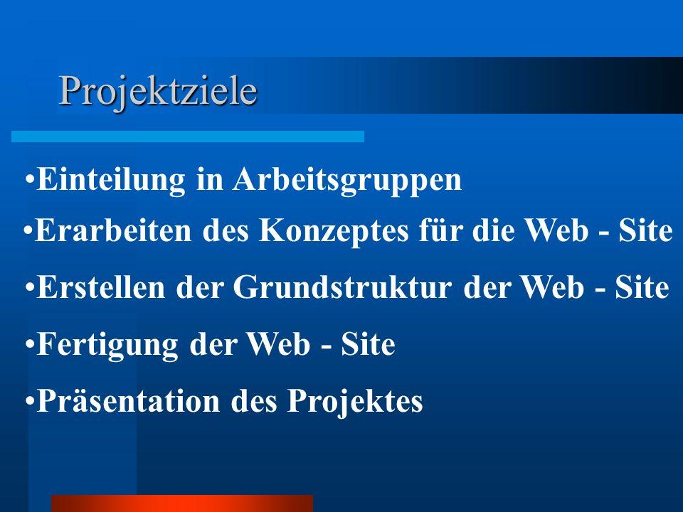 Projektziele Einteilung in Arbeitsgruppen Erarbeiten des Konzeptes für die Web - Site Erstellen der Grundstruktur der Web - Site Fertigung der Web - S