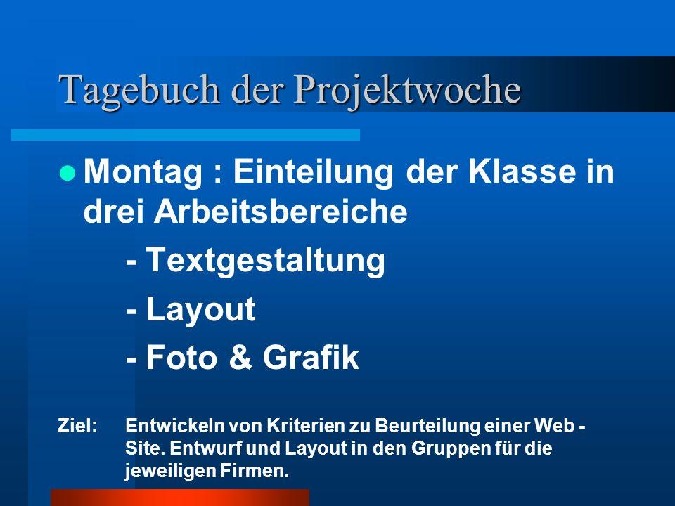 Tagebuch der Projektwoche Montag : Einteilung der Klasse in drei Arbeitsbereiche - Textgestaltung - Layout - Foto & Grafik Ziel: Entwickeln von Kriter