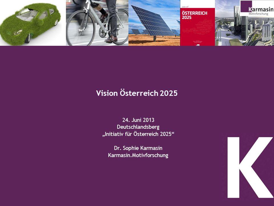1 Vision Österreich 2025 24. Juni 2013 Deutschlandsberg Initiativ für Österreich 2025 Dr. Sophie Karmasin Karmasin.Motivforschung